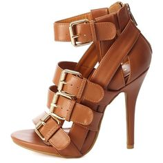 Charlotte Russe Buckled & Belted Strappy High Heels at Charlotte Russe Fancy Shoes, Hot Shoes, Crazy Shoes, Me Too Shoes, Shoes Heels, Sandal Heels, Women's Sandals, Dress Sandals, Gladiator Sandals