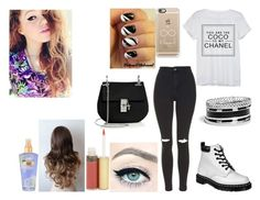 """""""Hanging Out With Mahogany"""" by td1direction ❤ liked on Polyvore featuring moda, Chanel, Topshop, Dr. Martens, Mally, GUESS, Casetify, China Glaze, Chloé e Victoria's Secret"""