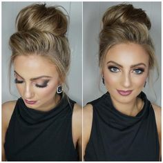 20 Date-Night Hair Ideas to Capture all the Attention high blonde bun Night Out Hairstyles, High Bun Hairstyles, Going Out Hairstyles, Pretty Hairstyles, Wedding Hairstyles, Elegant Hairstyles, Hairstyle Ideas, Easy Work Hairstyles, Black Hairstyle