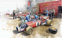 Motorsport Art - Scuderia Ferrari Paddock Spanish GP 1971 Ferrari by Yuriy Shevchuk Ferrari, Automobile, Gilles Villeneuve, Old Race Cars, Car Illustration, Car Posters, Vintage Race Car, Car Drawings, Automotive Art