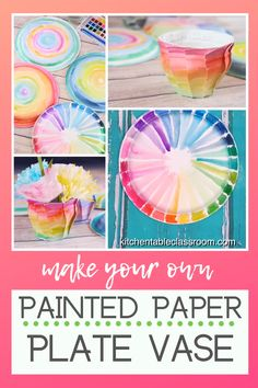 Painted Paper Plate Vases - Turn a plain paper plate into a colorful vase with this simple paper plate craft! Preschool Crafts, Diy Crafts For Kids, Fun Crafts, Art For Kids, Arts And Crafts, Recycle Crafts, Vase Crafts, Paper Plate Crafts, Paper Plates
