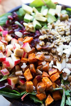The best hearty and healthy Thanksgiving salad – mixed greens with roasted sweet potato, seasoned wild rice, cranberries, almonds, avocado, and cheese with a creamy lemon balsamic dressing. Plus some shortcuts to make this salad even quicker and tips to make it ahead of time!A few weeks ago, my husband took me on a date...