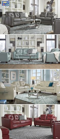 Luxurious top grain leather and fashionable design grab the spotlight in the stunning Marcella collection from Cindy Crawford Home.