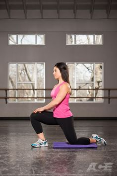 Week#1 - Cool Down #5  hold onto this position 20-30 seconds for each leg ACE Fit   Ab Exercises   Kneeling Hip-flexor Stretch