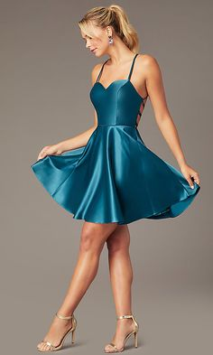Shop open-back skater-style party dresses at Simply Dresses. Misses and plus-size dresses for homecoming and backless sweetheart satin dresses with short skater skirts and corset-tie details. Hoco Dresses, Satin Dresses, Homecoming Dresses, Sexy Dresses, Cute Dresses, Sleeve Dresses, Legging Court, Mode Poster, Nude Dress
