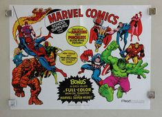 Rare vintage original 1975 Marvel Comics Mead Products back to school supplies promotional promo poster: Spider-man,Fantastic Four,Avengers,Captain America,Iron Man,Thor,Hulk,1970's Marvelmania/Foom era pin-up poster: EXTREMELY RARE AND NEVER FOR SALE TO THE PUBLIC!