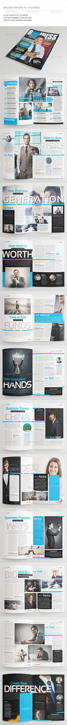 25 Pages Business Magazine Vol68 — InDesign INDD #banking #business • Available here → https://graphicriver.net/item/25-pages-business-magazine-vol68/8486083?ref=pxcr