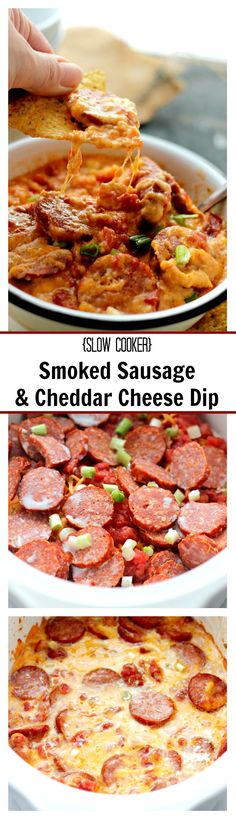 Slow Cooker Smoked Sausage and Cheddar Cheese Dip | www.diethood.com | Create this wonderful cheese dip in the slow cooker with slices of smoked sausage and delicious cheeses.