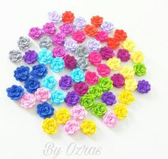 50pcs Mixed Assorted Flatback Flowers Cabochon Ornament Jewelry Making Accessory