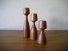Three Kesa Danish Candle Holders in Teak