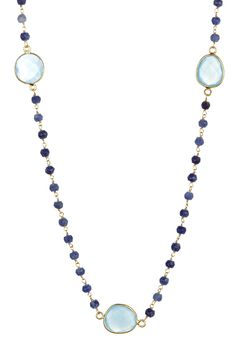 Blue Chalcedony & Sapphire Beaded Necklace