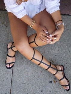 Online shop free shipping gladiator sandals ladies tall calf knee high leg flat summer boots strappy zipper shoes