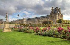 Tuileries gardens in Paris , Louvre museum. Royal gardens