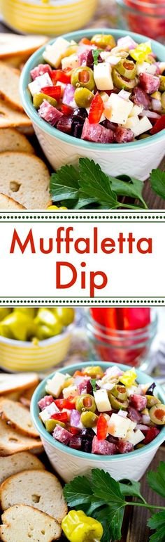 Muffaletta Dip - an easy, make ahead party food with all the flavors of the classic New Orleans sandwich