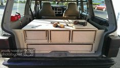 expedition rig build out - Page 13 - Jeep Cherokee Forum - the Jeep forum really has some nice ideas that can be adapted for other vehicles. Like the draw box system shown here. Jeep Wrangler, Jeep Zj, Jeep Xj Mods, Suv Camper, Truck Bed Camper, Camper Van, Auto Camping, Camping Tools, Truck Bed Storage