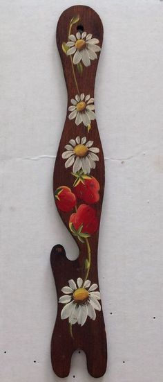 Vintage hand painted wood oven rack pull tool, kitchen decor, strawberries daisy