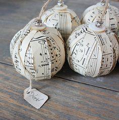 Rustic Rag Ball Ornaments - Vintage Sheet Music Ornies - Set of Three