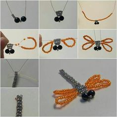 Dragonfly is such a lovely little bug! Here's a nice beading tutorial on how to make a pretty beaded dragonfly. It uses the simple technique of parallel braiding. You can try different color combination of beads to create your own style. Beaded Crafts, Wire Crafts, Jewelry Crafts, Beaded Dragonfly, Dragonfly Jewelry, Jewelry Patterns, Beading Patterns, Bead Jewellery, Beaded Jewelry