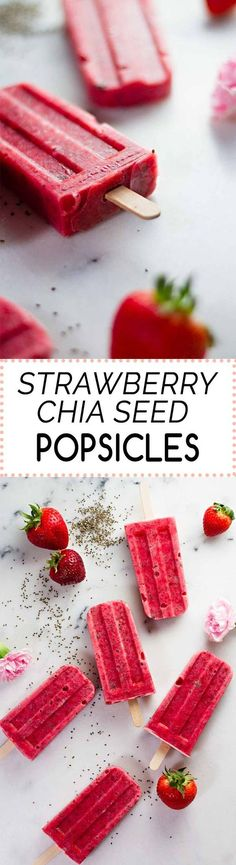 Strawberry Chia Seed Popsicles! Perfect for a healthy summer treat ;) 3 Ingredients, 10 minutes! {Vegan, Gluten-Free}