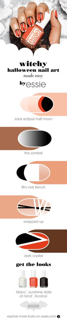 we're totally bewitched by these scary (but super easy) Halloween nail art looks! whether zombie, witch or mummy – we've got the perfect looks to help you nail that Halloween costume. using only three essie nail polish colors 'licorice,' 'blanc' and 'sunshine state of mind' – these black, white and orange looks are so simple to DIY.