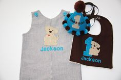 Boys First or Second Birthday Shortall, Puppy Dog Jon Jon, First Birthday Puppy Dog Jon Jon, Puppy Dog Romper - Chocolate Seersucker - pinned by pin4etsy.com