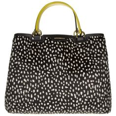 Emporio Armani Shopping Media Stampa Dalmata Tote Black/White in... ($870) ❤ liked on Polyvore featuring bags, handbags, tote bags, tote handbags, white tote bag, leather tote handbags, black and white handbags and leather tote bags