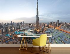 CITY 3d MURAL dubai wall mural khalifa tower wall by 4KdesignWall