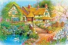 Cottage with beautiful gardens (425 pieces)