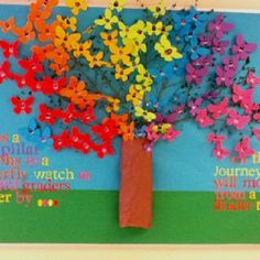 Rainbow 3d school bulletin board. My friend and I used the cricut to cut out butterflies. Then we applied students from 3 grade on the butterflies . We got some branches from outside to make the 3d look. We then added the words. Everyone loves how we did a rainbow look too!