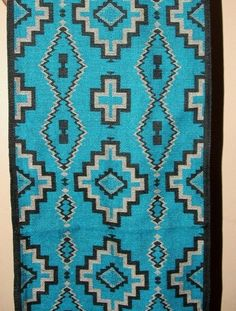 "Table Runner BLUE 16x80"" + Fringed Ends Southwestern Native American A colorful quality table runner. Woven. Canvas backed w/ fringed ends. 34.50 w/ free shipping w/ in USA. #tablerunner #runner #southwest"