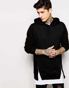Image 1 of ASOS Longline Hoodie With Quilted Front & Zip Details