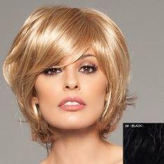 Trendy Fluffy Side Bang Elegant Charming Short Straight Human Hair Capless Wig For Women