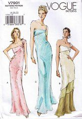 Vogue Pattern 7901 One Shoulder Gown Size 12, 14, 16