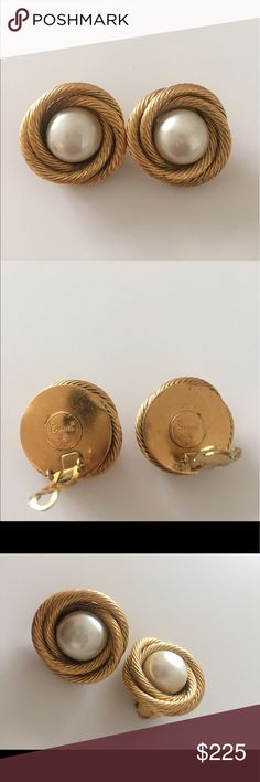 Auth Chanel clip on earrings One has a peeling, the other is quite good with small spots. Size2.7cm. Final Sale, no return. Don't expect too much on condition since they are vintage piece. CHANEL Jewelry Earrings