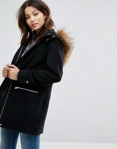 Order New Look Faux Fur Trim Duffle Coat online today at ASOS for fast delivery, multiple payment options and hassle-free returns (Ts&Cs apply). Get the latest trends with ASOS. Coats For Women, Jackets For Women, Summer Jacket, Asos Maternity, Fall Wardrobe, Color Negra, Fur Trim, Mantel, New Look