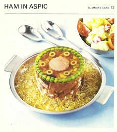 Ham in Aspic - at least the pimento olive slices are perfectly spaced. And how 'bout that ring o' peas! (Marguerite Patten's Recipe Cards, 1967)