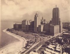Lake Shore Dr and Michigan Ave (Palmolive Building) 1930s