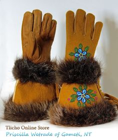 Gauntlet Dene Gloves by Priscilla Wetrade of Gameti, NT Native American Regalia, Native American Crafts, Native American Beadwork, Native Beading Patterns, Beadwork Designs, Tablet Weaving, Bead Weaving, Nativity Crafts, Mittens Pattern