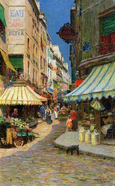 The Athenaeum - Market Day, Paris (Luther Emerson Van Gorder - 1896)