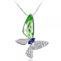 Green Austrian Crystal Butterfly Pendant Necklace Chain + Gift Box Party