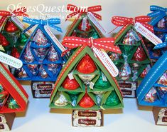 Scored Hershey's Kiss Christmas Tree Tutorial - love this idea from Qbee for an inexpensive holiday treat