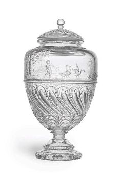 Baccarat, crystal covered vase, cut and engraved, urn form, 1878