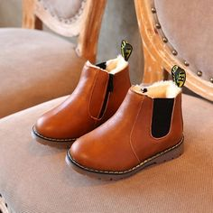Top Kids Boys Girls Leather Martin Chelsea Ankle Boots Toddler Winter Flat Shoes