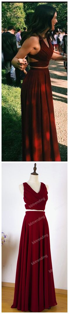chiffon prom dresses,2017 burgundy prom dress,halter neckline,two piece party dresses