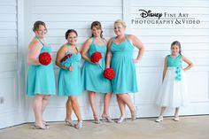 Pretty peppermint flowers with aqua bridesmaid dresses