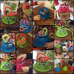 "Pipe cleaner hair on the monster colanders. Fine motor work from Rachel ("",)"