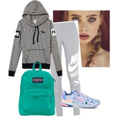 Sportie by mariamakbbh on Polyvore featuring polyvore, moda, style, NIKE, adidas and JanSport