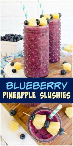Blueberry Pineapple Slushies - these refreshing homemade fruit slushies are made with just three ingredients. Make this easy recipe for those hot summer days! #fruitslushies #homemade #easy #recipe #blueberry #ad #pineapple #frozendrinks #wishfarms #sundaysupper