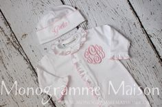 Baby Girl Coming Home Outfit-Baby girl footed sleeper-Baby Gift-Baby Shower Gift-Monogrammed Layette Gift Set-Newborn Pictures-Pima by MonogrammeMaison on Etsy https://www.etsy.com/listing/182664690/baby-girl-coming-home-outfit-baby-girl
