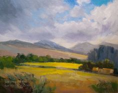 California Central Coast Landscape oil painting Los Osos Valley Road near Paradise Lane, San Luis Obispo field meadow sunlight marine layer.